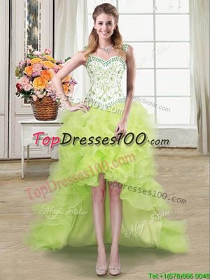 Captivating Straps Straps Yellow Green Organza Lace Up Junior Homecoming Dress Sleeveless High Low Beading and Ruffles