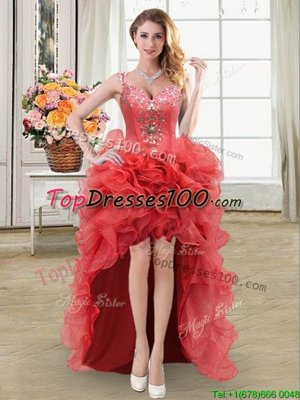 Straps Sleeveless Organza Homecoming Dress Online Beading and Ruffles Lace Up