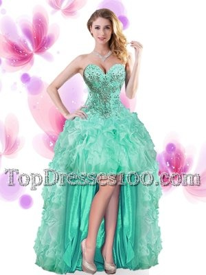 New Style Turquoise Sleeveless High Low Beading and Ruffles Lace Up Winning Pageant Gowns