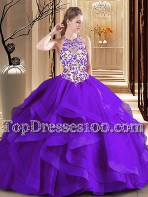 Tulle Scoop Sleeveless Brush Train Lace Up Embroidery Quinceanera Dresses in Purple