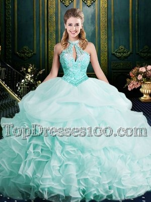 Apple Green Halter Top Neckline Beading and Lace and Ruffles Sweet 16 Dresses with Wigs Sleeveless Clasp Handle