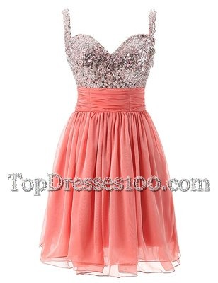 Comfortable Straps Sleeveless Evening Outfits Knee Length Beading Watermelon Red Chiffon