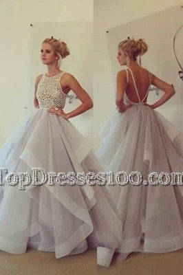 Customized Scoop Champagne Sleeveless With Train Lace Backless Pageant Dress for Teens