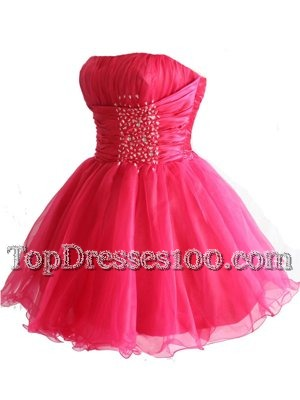 Elegant Sequins Ball Gowns Teens Party Dress Hot Pink Strapless Organza Sleeveless Mini Length Lace Up