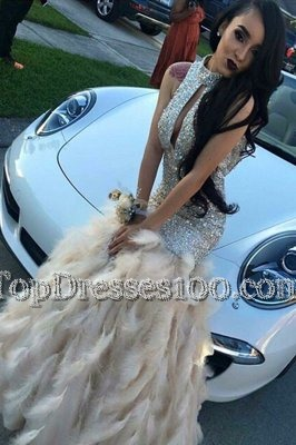 Mermaid Champagne Zipper High-neck Beading Pageant Dress for Teens Sequined Sleeveless
