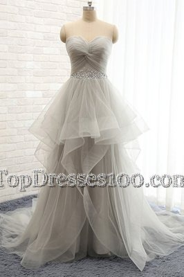 Adorable Sweetheart Sleeveless Pageant Dress Wholesale Court Train Beading Grey Tulle