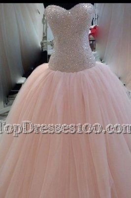 Fitting Pink Ball Gowns Tulle Sweetheart Sleeveless Beading and Sequins and Bowknot Floor Length Zipper Pageant Dress Wholesale