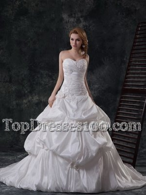 Dramatic White Taffeta Lace Up Wedding Gowns Sleeveless With Brush Train Beading and Appliques and Pick Ups