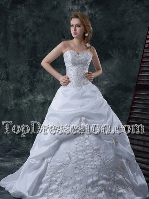 Custom Fit Sweetheart Sleeveless Taffeta Bridal Gown Beading and Embroidery Brush Train Lace Up