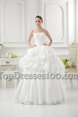 Low Price Sleeveless Taffeta Floor Length Lace Up Wedding Gown in White for with Beading and Pick Ups