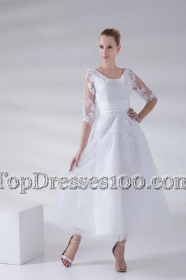 Wonderful Scoop White Sleeveless Lace and Appliques Ankle Length Wedding Dresses