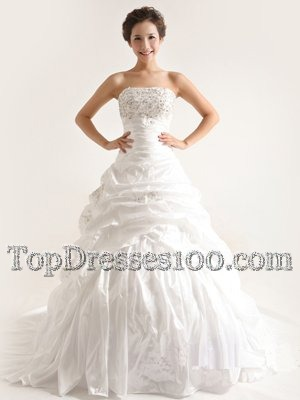 White A-line Strapless Sleeveless Taffeta With Train Court Train Lace Up Beading and Pick Ups Wedding Dress
