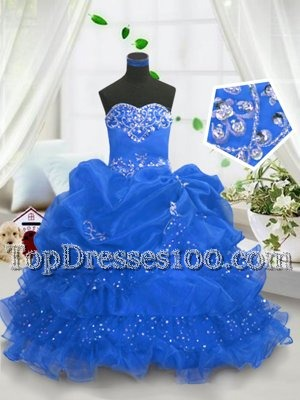 Blue Organza Lace Up Sweetheart Sleeveless Floor Length Little Girls Pageant Dress Wholesale Beading and Ruffled Layers and Pick Ups
