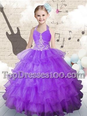 Deluxe Gold Organza Lace Up Kids Pageant Dress Sleeveless Floor Length Beading and Ruffled Layers and Pick Ups