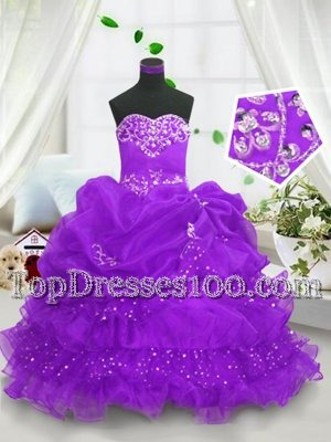 Latest Purple Sweetheart Neckline Beading and Ruffled Layers and Pick Ups Kids Formal Wear Sleeveless Lace Up