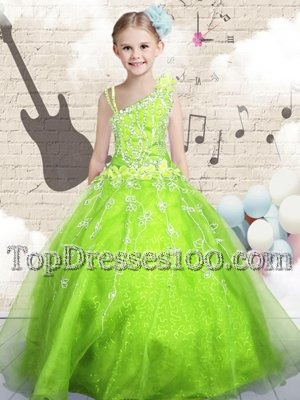 Sleeveless Zipper Floor Length Beading and Appliques Kids Formal Wear