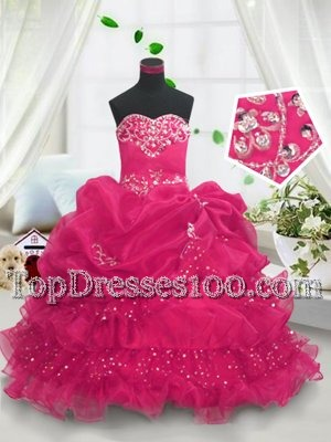 Hot Pink Sweetheart Lace Up Beading and Ruffled Layers and Pick Ups Child Pageant Dress Sleeveless