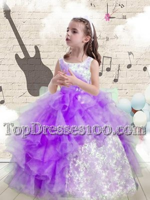 Amazing Ruffled Halter Top Sleeveless Zipper Child Pageant Dress Rose Pink Organza