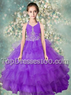Admirable Lavender Ball Gowns Organza Halter Top Sleeveless Beading and Ruffled Layers Floor Length Zipper Little Girls Pageant Dress