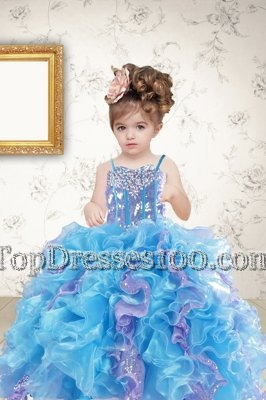Glittering Sequins Spaghetti Straps Sleeveless Lace Up Kids Pageant Dress Multi-color Organza