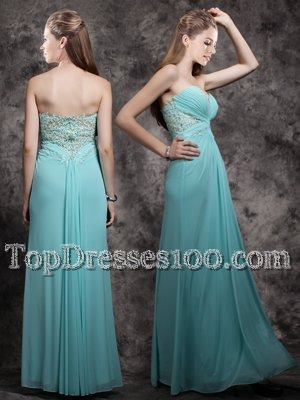 Custom Designed Sweetheart Sleeveless Prom Gown Floor Length Appliques Aqua Blue Chiffon