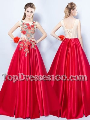 Vintage Scoop Sleeveless Elastic Woven Satin Floor Length Lace Up Prom Evening Gown in Red for with Appliques