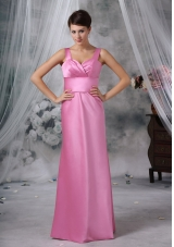 Custom Made Straps Floor-length Satin Pink Bridesmaid Dress For 2013