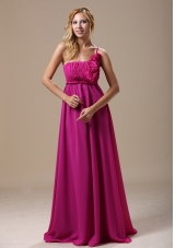Fuchsia One Shoulder Hand Made Flowers In Hartford City For Bridesmaid Dress