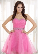 Beaded Decorate Sweetheart Neckline and Wasit Pink Organza Knee-length 2013 Prom / Homecoming Dress