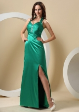 Dark Green High Slit Halter Ruched Bodice and Beaing Prom Dress