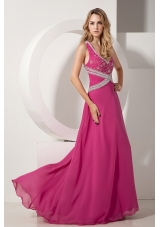Fuchsia A-line V-neck Floor-length Chiffon Appliques With Beading Prom dress
