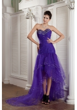 Purple Mermaid Sweetheart High-low Tulle Beading Prom / Evening Dress