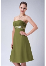 Olive Green Empire Strapless Bridesmaid Dress Chiffon Knee-length