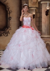 White Ball Gown Strapless Floor-length Organza Embroidery Quinceanera Dress
