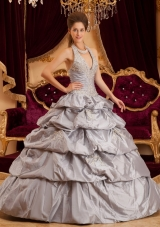 Grey Ball Gown Halter Floor-length Taffeta Appliques Quinceanera Dress