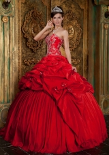 Red Ball Gown Sweetheart Floor-length Taffeta Beading and Appliques Quinceanera Dress