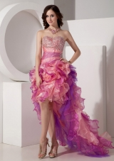 Multi-color High-low Ruffles Organza Sweetheart Beading Prom Dress