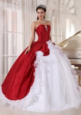White and Red Ball Gown Sweetheart Floor-length Organza and Taffeta Beading Quinceanera Dress