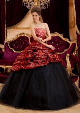 Red and Black Strapless Ball Gown Floor-length Zebra and Tulle Hand Made Flowers Quinceanera Dress