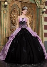 Purple and Black Ball Gown Strapless Floor-length Taffeta Appliques Quinceanera Dress