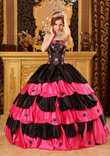 Pink and Black Ball Gown Strapless Floor-length Taffeta Beading Quinceanera Dress