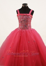 Coral Red Little Girl Pageant Dresses With Beading and Straps  Pageant Dresses