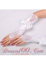 Lycra Fingerless Elbow Length Bridal Gloves With Ruching
