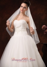 Tulle Ribbon Ribbon Edge Edge Bridal Veils For Wedding