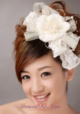 White Imitation Pearls Flower Sweet Tulle Fascinators