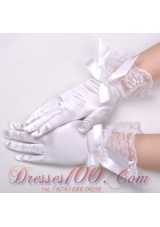Chic Lycra Fingerless Wrist Length Bridal Gloves With Bow