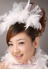 Beautiful Feather Flower Imitation Pearls Fascinators