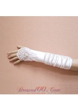 Satin Fingerless Elbow Length  Bridal Gloves With Beading And Ruching