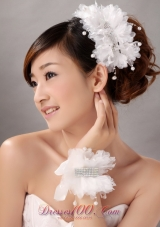 Imitation Pearls With Crystals Women' s Fascinators/ Hairband And Wrist Corsage
