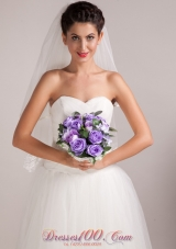 Warm Purple Round Shape Hand-tied Wedding Bridal Bouquet